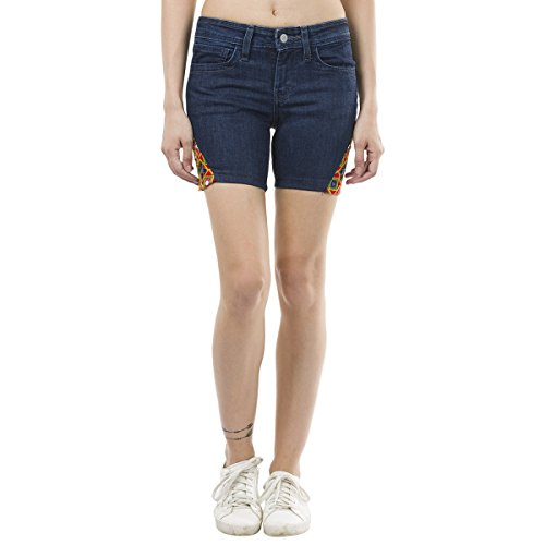 Estrolo Embroidered Fabric Patched Blue Fusion Women's Shorts