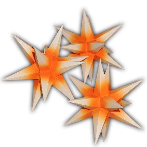 3 Sterne Sternschmiede (Art.Nr.51) orange weiß, aus Papier inkl. Netzteil