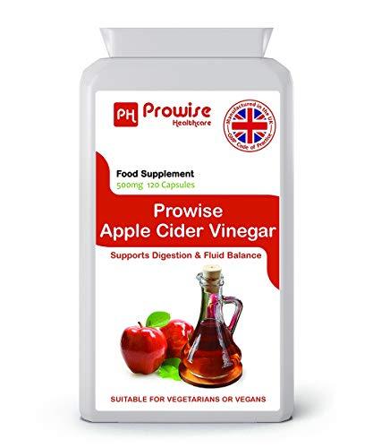 PROWISE APPLE CIDER ESSIG 500mg 120 Kapseln, hergestellt in Großbritannien zu GMP Code of Practice, Geeignet für Vegetarier und Veganer