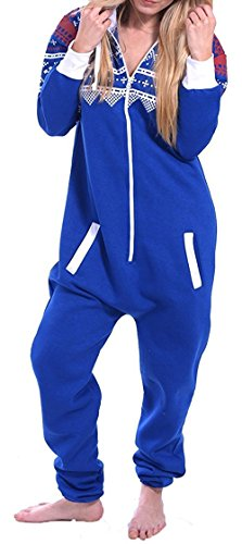 Juicy Trendz Dame Frauen Unisex One Zip Onesie Jumpsuit Playsuit Anzug AZ-BLU L