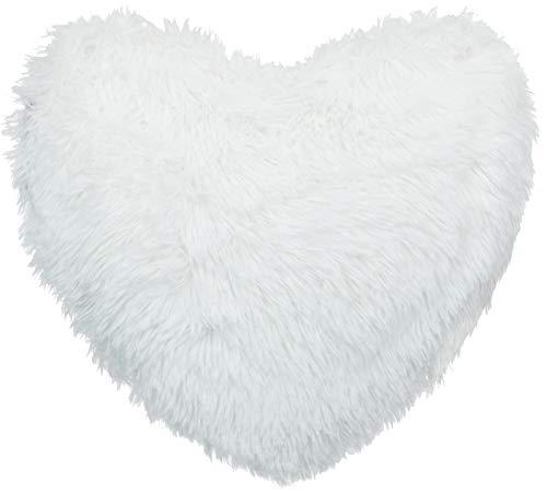 Brand sseller–Lanuda Corazón–Un Cómodo Peluche Almohada (Forma de Corazón Aprox. 45x 45cm, Microfibra, Blanco, ca. 45x45 cm