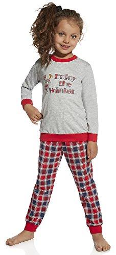 Cornette Mädchen Schlafanzug 594 2016(Melange/Rot/Navy(69), 110-116) (Schlafanzug Mädchen Roter)