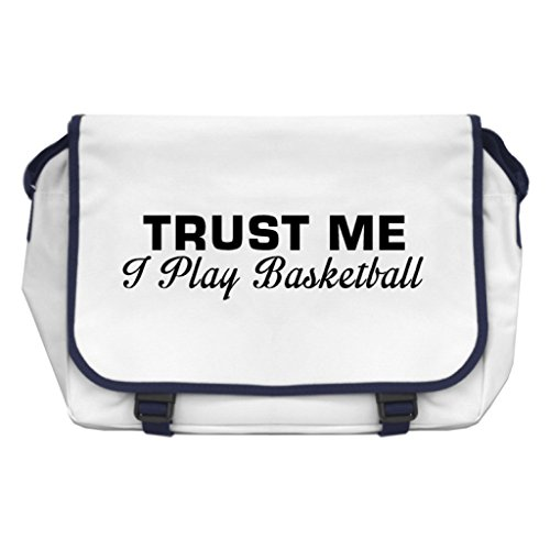 Trust Me I Play Basketball Messenger Bag–Weiß (Boston Bag Weiße)