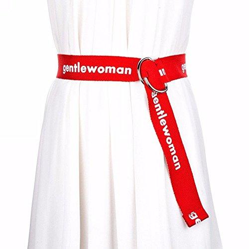 ERLINGSAN-YD Frau General-Leinwand Gürtel Doppel-Ring Schnalle gestreifte Jeans mit verlängertem Gürtel Rot - Gestreifte Leinwand