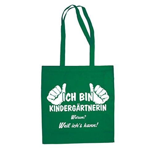 Jutebeutel Baumwolltasche - Ich bin Kindergärtnerin, weil ich's kann - von SHIRT DEPARTMENT Schwarz-Fuchsia