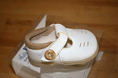 Baypods Baypods Schuhe mit fester Sohle und Knopfschnalle, Weiß Unisex-Größe 2-6-12 Monate