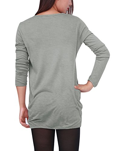 Allegra K Femme Manches Longues Crâne T-shirts En Vrac Blouses Tunique Longue Haut gray