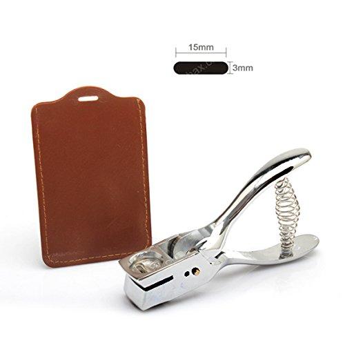 Demiawaking Silber Metall Hand Slot Puncher ID Karte Foto Abzeichen Locher Tag Werkzeug (Öse Hand)