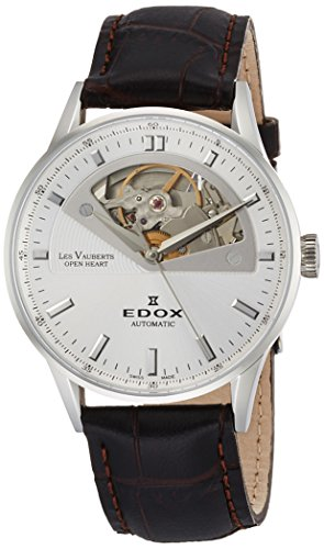 Edox Women's Les Vauberts 37mm Black Leather Band Automatic Watch 85019 3A AIN