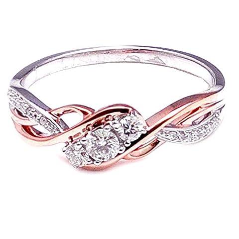 rings-midwestjewellery. COM Damen Diamant 3Stein Engagement Jahrestag Ring 1/4cttw Rose Ton & weiß gold 10K (0,25Karat)