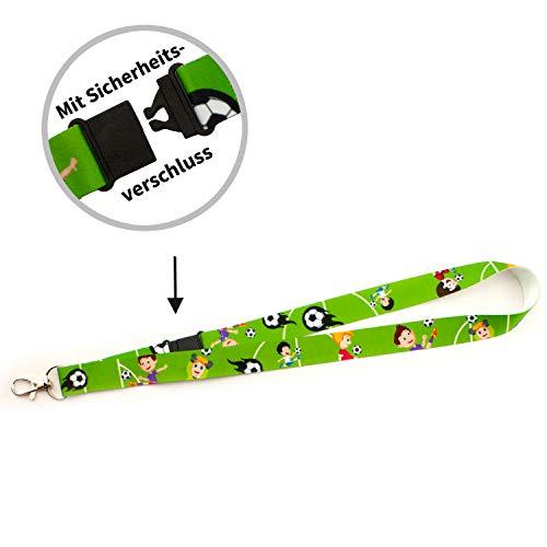 Schlüsselbänder - Lanyards - für Kinder - vorgefertigt - sofort lieferbar im 5er Pack (Fußball, 20 mm)