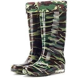 LXYYBFBD para Botas De Lluvia para Mujer,Espesar Camuflaje Simple Moda Mujer Zapatos De Agua Impermeable Antideslizante Retro Wellington Wild Resistentes Al Desgaste De Mujeres Botas De Lluvia 40