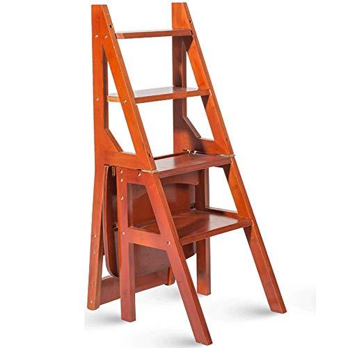 Geyao Multifunktionsleiter Hocker Startseite Massivholz IKEA Kinder Klappstuhl Provinz Space Dual-Use-Vierstufenleiter Aufstiegsleiter 40 × 46 × 90 cm (Color : Wine red color)