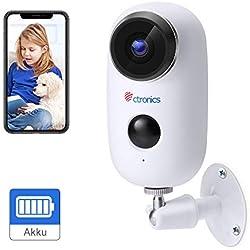 (1080P) Caméra de Surveillance Batteries Rechargeable WiFi, Ctronics Caméra Batterie WiFi extérieure sans Fil avec détecteur de Mouvement PIR, Audio bidirectionnel, Vision Nocturne, étanche