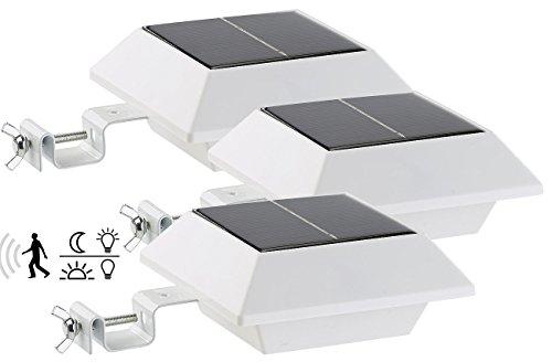Lunartec Dachrinnen LED: Solar-LED-Dachrinnenleuchte, 160 lm, 2 W, PIR-Sensor, weiß, 3er-Set (Solar LED Leuchten)