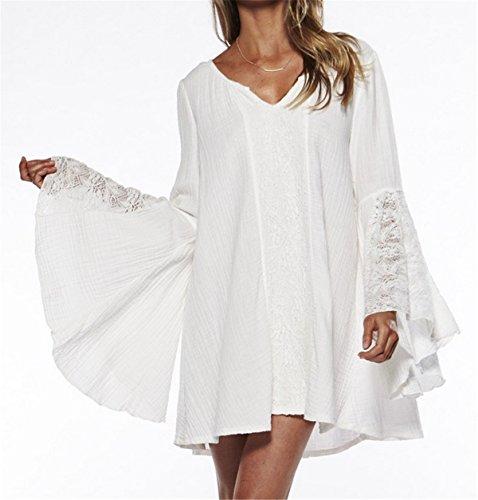 YOGLY Damen Kleider Strand Sexy Dress Summer Top Sommer Strandkleid Hipster Kleider Kurz Elegant Weiß