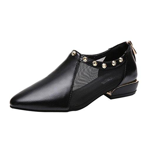JIANGfu Fashion Women Shallow Zipper Rivets Low Heel Flat Mesh Party Shoes Ladies Pointed Single Shoes (Black, 5 UK)