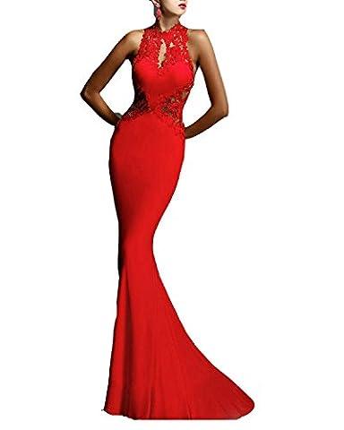 BIUBIU Damen Spitze Abendkleider Lang Brautkleid Ballkleid Hochzeitskleid Rot