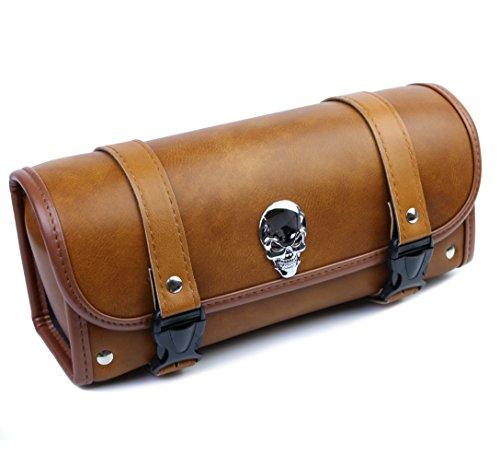 Motorrad Werkzeug Roll Sattel oder Front Gabeltasche Gepäckaufbewahrung mit Schnellzugriff Clips und Schädel -