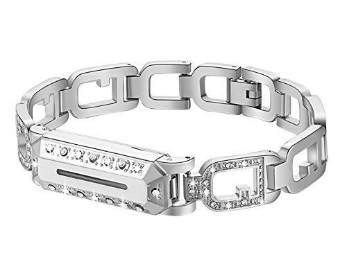 Gocybei Ersatzarmband für Fitbit Flex 2, klassisches Armband aus Metall, Zubehör für Fitbit Flex 2/Fitbit Flex-2-Armband, A01-Silver