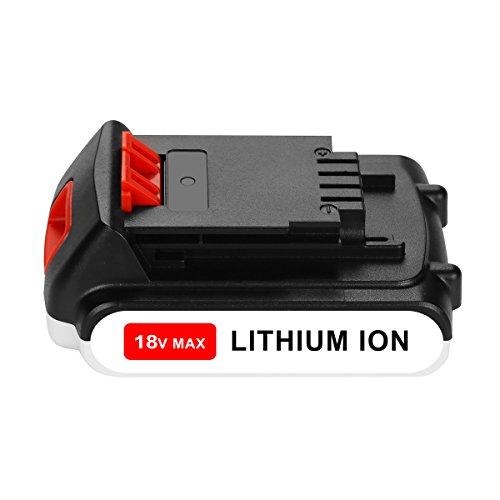 OPSON 18V 2,0Ah Lithium-ion Ersatz Akku für Black & Decker 18V BL2018 LBXR20 LBXR2020-OPE LB20 LBX20 BL2018-XJ GKC1825L GTC1850L20 STC1820 Werkzeugakkus (Decker Und Farbe Black)