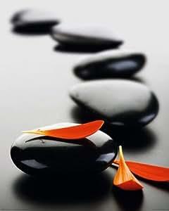 Poster 'zen stones red'dimensions: (l x h): 40 x 50 cm-  miniposter pétales pierre rouge sur noir-naturel-spirit &religion