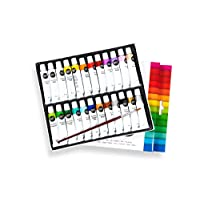 perfect ideaz Colourful Set of 24 Tubes of Acrylic Paints, Each 12 ml, with Brush, 22 Different Creative Paint Colours, high Colour Pigment Content, high Coverage and Fast Drying Acrylic Paints