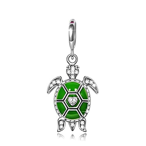 NinaQueen Green Turtle 925 Sterling Silver Bead for women fit charms bracelet Christmas Gifts Birthday gifts san valentines Mothers Day Anniversary Wedding Gift For Mom Mother Wife Daughter Friend