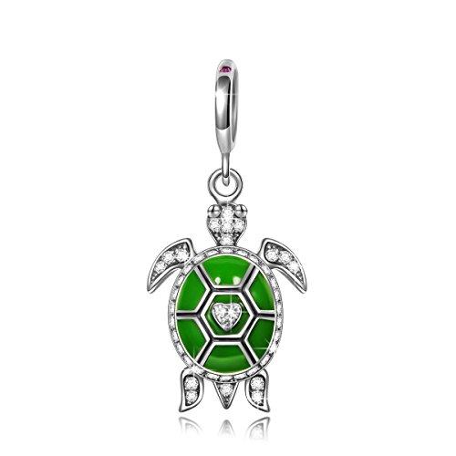 Ninaqueen tartaruga verde ciondolo da donna argento sterling 925 per pandora charms bracciale regalo compleanno natale san valentino festa della mamma regali anniversario per moglie madre sposa