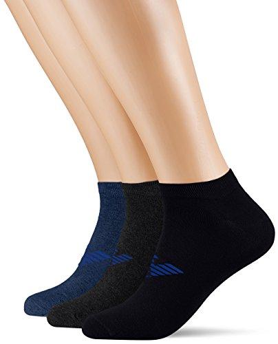 Emporio Armani Underwear Herren Füßlinge 3000087A234, Mehrfarbig (Blu.Mel/Gri.Mel/Blu 12634), One Size (Herstellergröße: L) (Boxer Knit Logo)