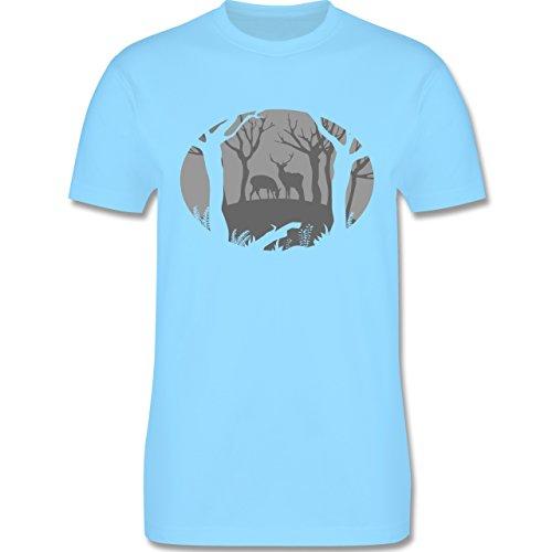Wildnis - Hirsche - Herren Premium T-Shirt Hellblau