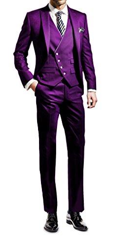 Suit Me Herren 3-Teilig Anzug Slim Fit Hochzeiten Party Smoking Anzuege Sakko,Weste,Hose Violett 2XL