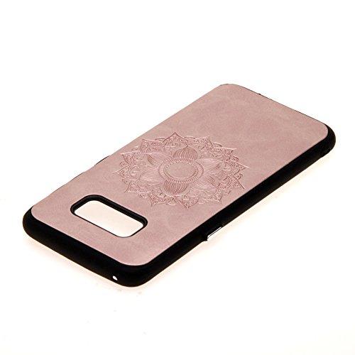 KM-WEN® Schutzhülle für Apple iPhone 7 (4,7 Zoll) PC Plastik Hart und Rückseite PU Leder Tasche Blumenreben Prägung Design Rückseite Cover Handyhülle mit Wallet Case Schutzhülle Hülle für Apple iPhone Mandala-Rose Gold