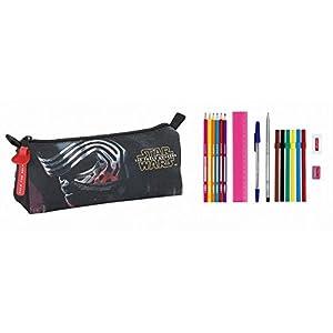 Star Wars Estuche portatodo Lleno 17 Piezas (SAFTA 811601708), Color Negro y Rojo, 20 cm