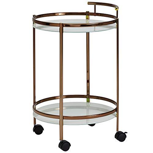 Wohnling Design Servierwagen Gold Rund Ø 50cm 2 Ebenen mit Bremse | Beistelltisch auf Rollen mit Glasplatte Speisewagen | Küchenwagen | Teewagen