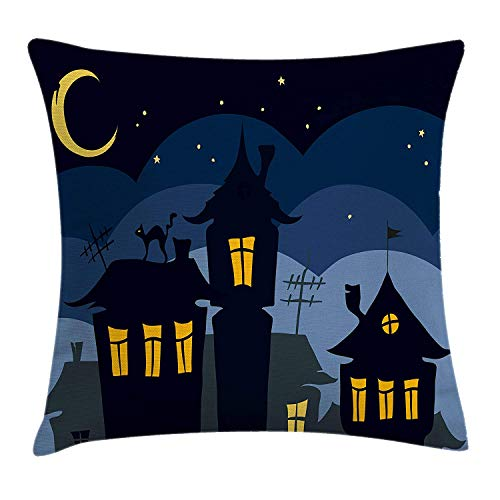 Halloween Throw Pillow Cushion Cover, Old Town with Cat on The Roof Night Sky Moon and Stars Houses Cartoon Art, Decorative Square Accent Pillow Case, 18 X 18 inches, Black Yellow Blue (Halloween Cupcakes Nyc)
