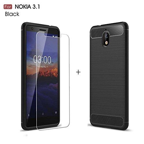 LJSM Nokia 3.1 Hülle Schwarz Kohlefaser + Panzerglas Displayschutzfolie Schutzfolie - Weich Silikon Schutzhülle Crystal Flexibel TPU Tasche Case für Nokia 3.1 2018 (5.2