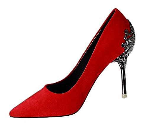 Minetom Damen Elegant Schuhen Mit Hohen Absätzen Sexy Spitze Schuhe Hochzeit Abend Parteischuhe Rot (Schwarze Riemchen-plattform)