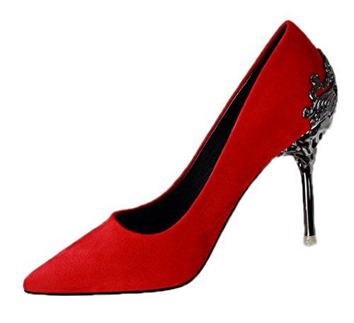 Minetom Damen Elegant Schuhen Mit Hohen Absätzen Sexy Spitze Schuhe Hochzeit Abend Parteischuhe Rot 38 Bow High Heel Sandale
