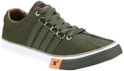 Sparx Men's Olive Canvas Sneakers  - 6 UK