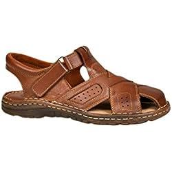 Calzado Genuina Piel Búfalo Zapatos Ortopédicos Cómodos Sandalias Hombres Modelo-867