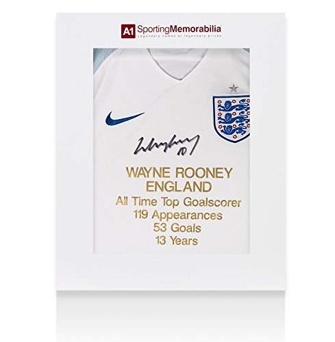 Wayne-Rooney-Front-Signed-England-Shirt-Career-Stats-Home-2016-2017-Limited-Edition-Gift-Box