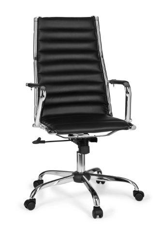Amstyle Bürostuhl GENF 1 Bezug Kunstleder Design Schreibtischstuhl X-XL 110 kg Chefsessel höhenverstellbar Drehstuhl ergonomisch mit Armlehnen Rücken-Lehne Wippfunktion verstellbar Schalensitz schwarz