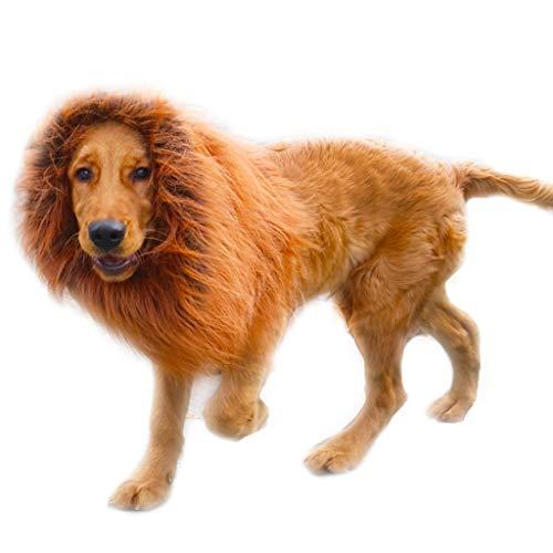 Baipin Löwenmähne für Hunde Haustierkostüm Hunde Kleidung Schals, für mittelgroße und große Hunde, Dunkelbraun
