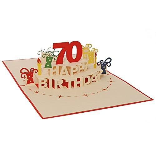 Favour Pop Up Glückwunschkarte zum runden 70. Geburtstag. Ein filigranes Kunstwerk, das sich beim Öffnen als Geburtstagstorte entfaltet. TA70R 70