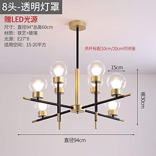 Dormitorio restaurante araña lámparas de personalidad fabricantes ocho luz transparente de tres colores