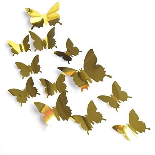 Fdit 12 STÜCKE 3D Schmetterling Spiegel Wandtattoo Aufkleber Decor für Wohnzimmer Home Art Dekoration(Gold) -