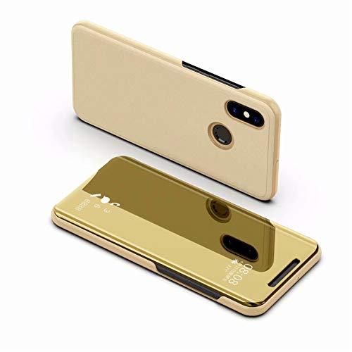 Tianyan Funda Xiaomi Mi 8 Pro,Inteligente Espejo Clear View Flip Cover Carcasa Plegable Soporte Funda para Xiaomi Mi 8 Pro,Dorado