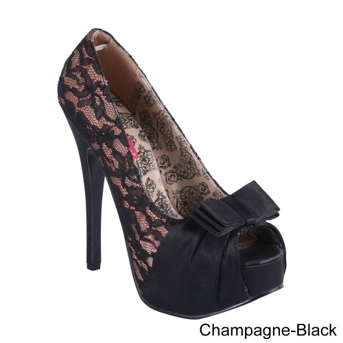 Pleaser Usa Shoes - Teeze-28 Champagne Satin-Blk