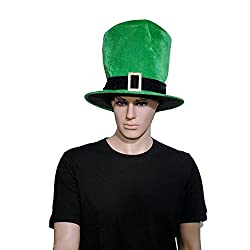 St Patricks Day Irish Green Leprechaun Top Hat With Buckle Fancy Dress Accessory